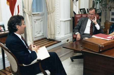 Special Advisor, Doug Wead sits facing President George H.W. Bush in the White House