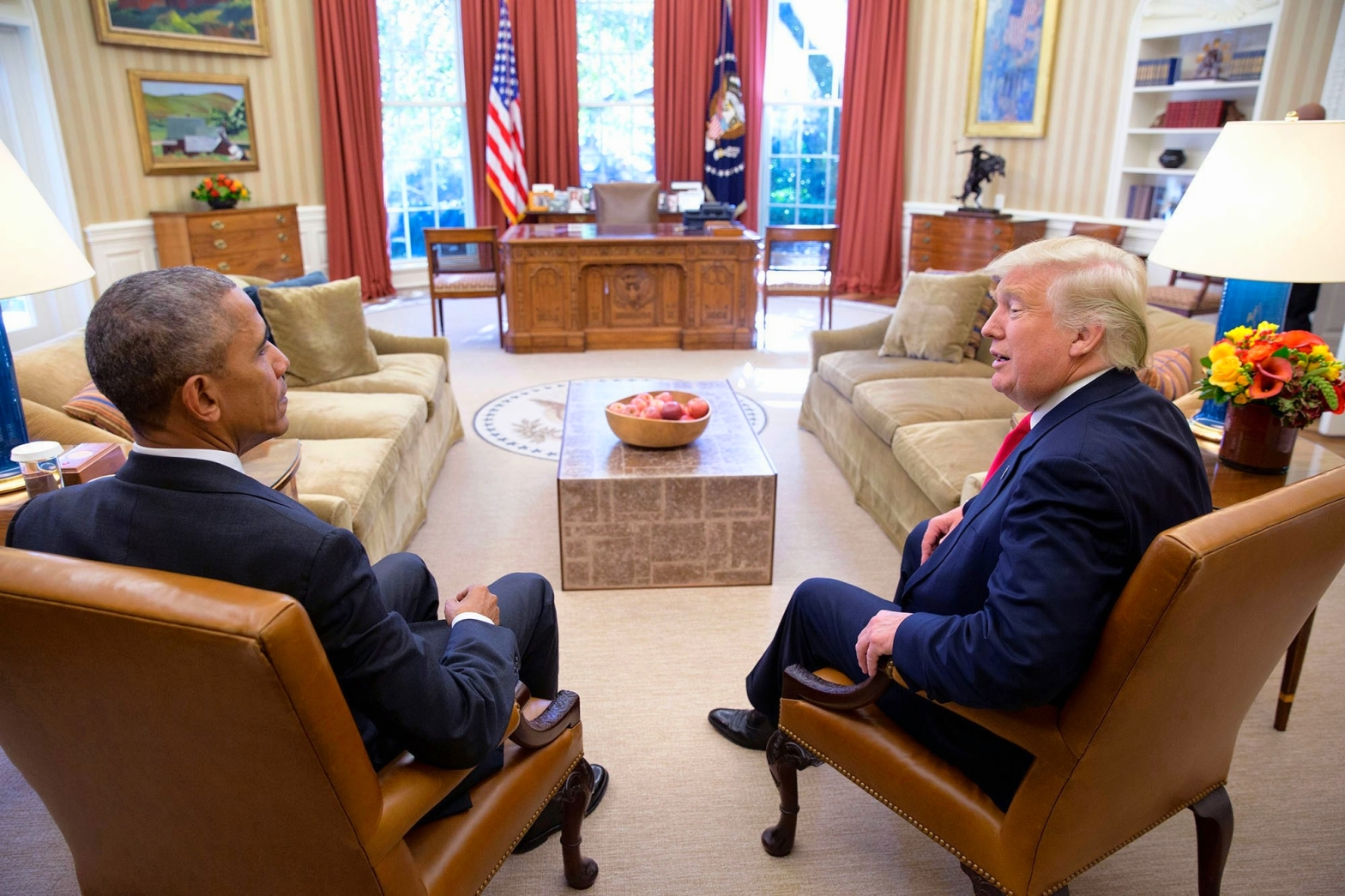 Presidents of the United States, Donald Trump, Obama, sitting together