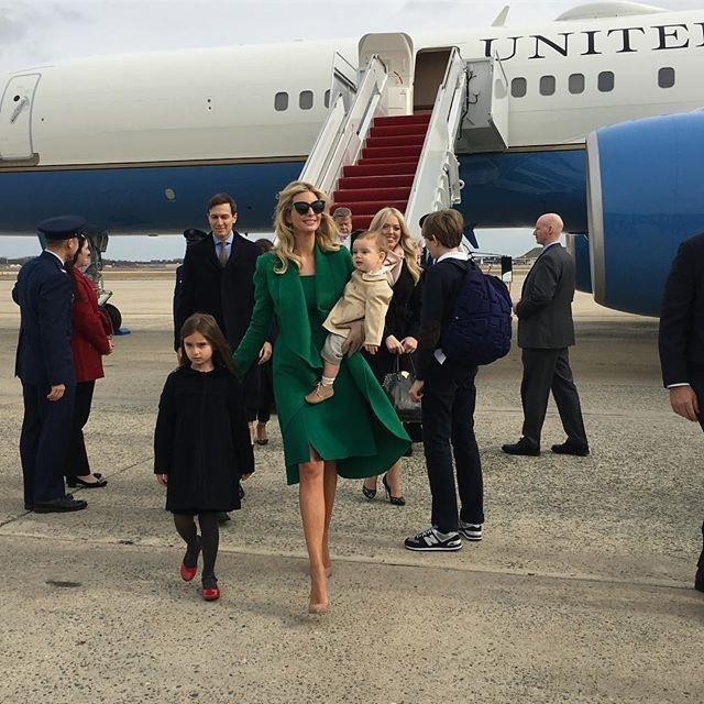 Daughter to US President, Donald Trump, Ivanka Trump, with her children, and husband, Jared Jushner, arriving to President Trump's inauguration, Inside Trump's White House