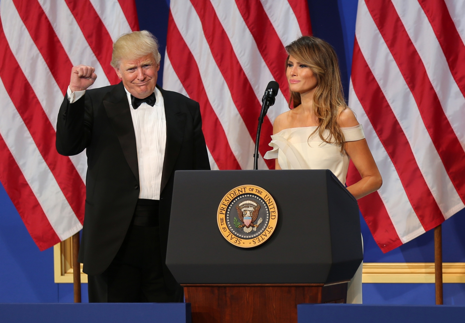 President Donald Trump, and First Lady Melania, gives a speach, at the salute the our Armed Services Ball