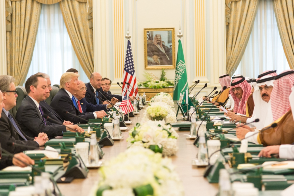 President of the United States, Donald Trump, leads bilateral meeting, with King Salman of Saudi Arabia