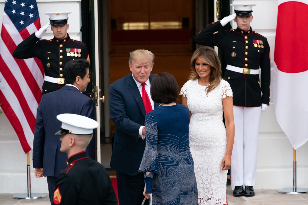US President, Donald Trump, and First Lady Melania Trump, welcome, prime minister Abe, and Mrs. Abe of Japan, Inside Trump's White House