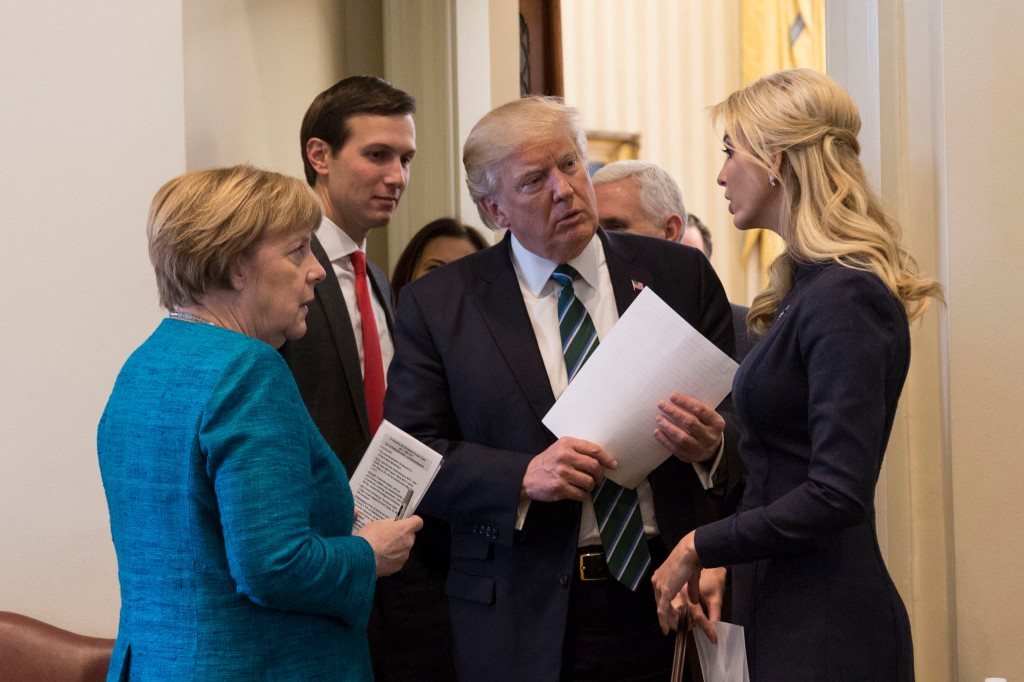 President Donald Trump, meets German Chancellor, and talks with Ivanka Trump, and Jared Kushner