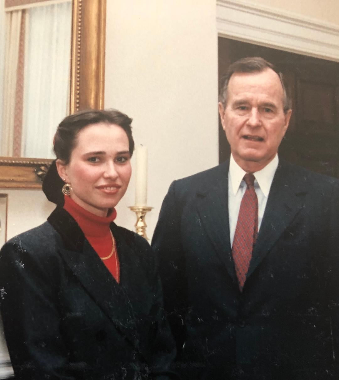Myriam Wead, wife of Doug Wead, historian, with President H.W. Bush